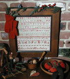 Antique Marking Sampler Signed Green and Red Stitching Christmas