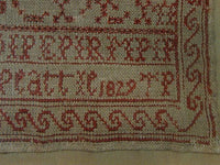 Early Marking Sampler dated 1829 Turkey Red Thread English Framed Fantastic