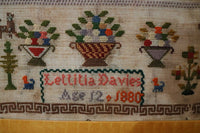 English Pictorial Marking School Girl Sampler signed and Dated Gorgeous