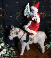 German Donkey with Vintage Santa Christmas Gathering