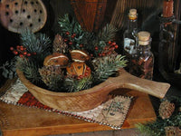 Old Carved Primitive Wooden Scoop Cloved Oranges Christmas Gathering