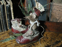 Antique Child's Baby Victorian Button Up Red Shoes with Mouse