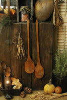 Primitive Old Long Handled Wooden Spoons with Notched Ends