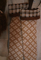 Stockings Long Cozy Tan and Brown Checkerboard Design Neat