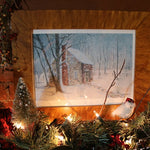 Stone House Winter Watercolor Print Grain Painted Frame Delightful