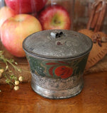 Early Tin Sugar Bowl Tole Painted