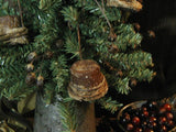 Antique Savory Tin Measure with Christmas Tree and Authentic Sugar Cone Ornaments