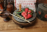 Tin Plate Calico Strawberries Fluted Candle Holder