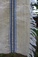 Flax Linen Hand Woven Vintage Towel Blue Stripes