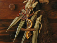 Primitive Whisk Broom Okra Oranges Cinnamon Sticks for Your Pantry