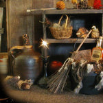 Witch Hazel Bottle Antique Cauldron with Roving Wool Witches Soap & Broom Primitive Halloween Gathering