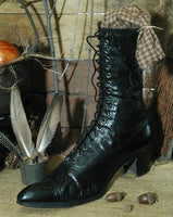 Antique Victorian Ladies Lace Up Leather Boots Perfect for Halloween