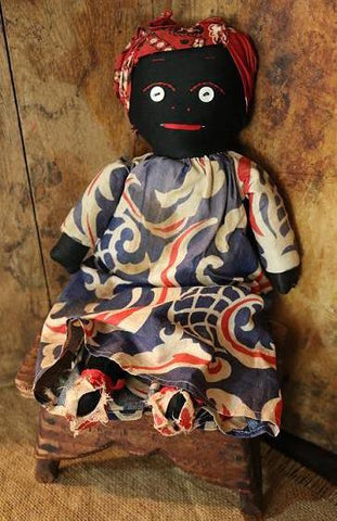 Black Doll with Hand Stitched Features Darling Dress