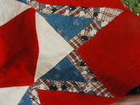 Early Quilt Block Feathered Star Design Red White and Blue Stunning