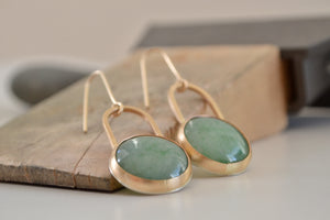 Aventurine earrings, close-up