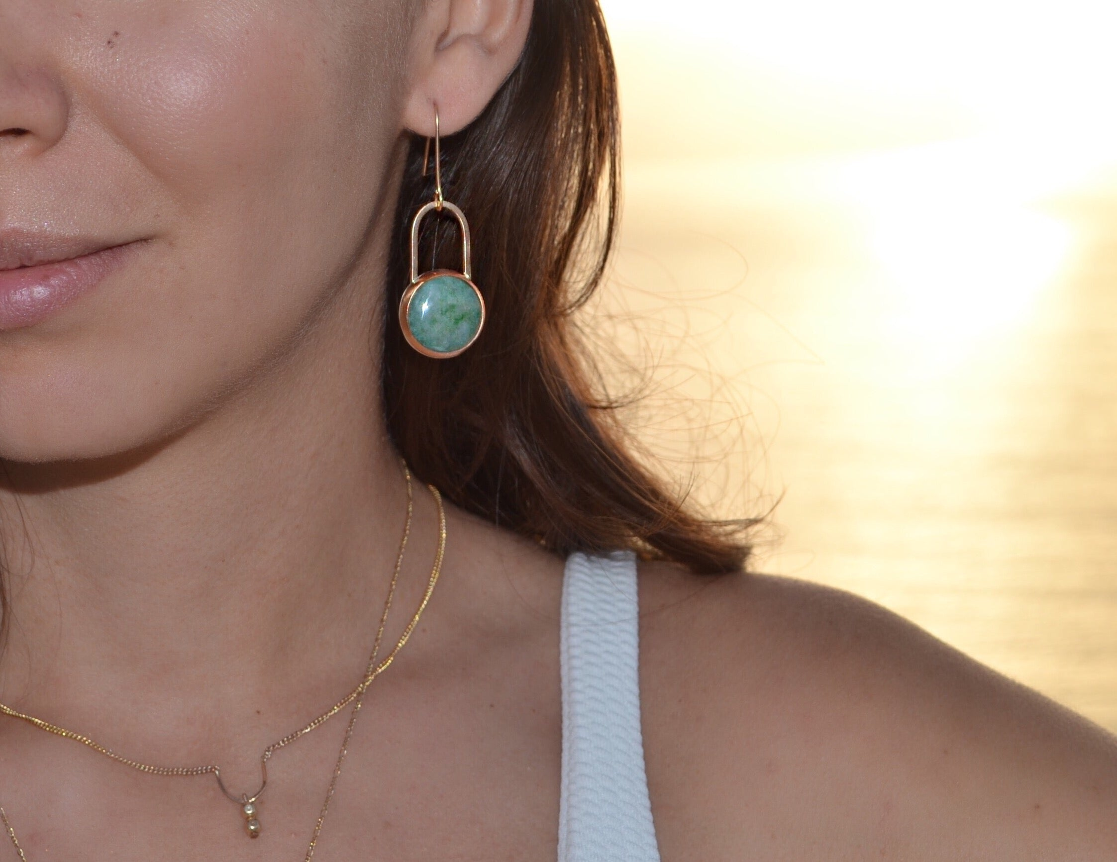 Aventurine earrings, lookbook