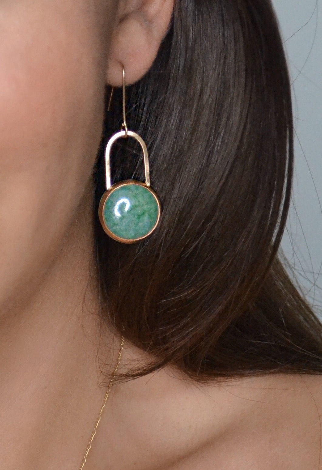Aventurine earrings, studio