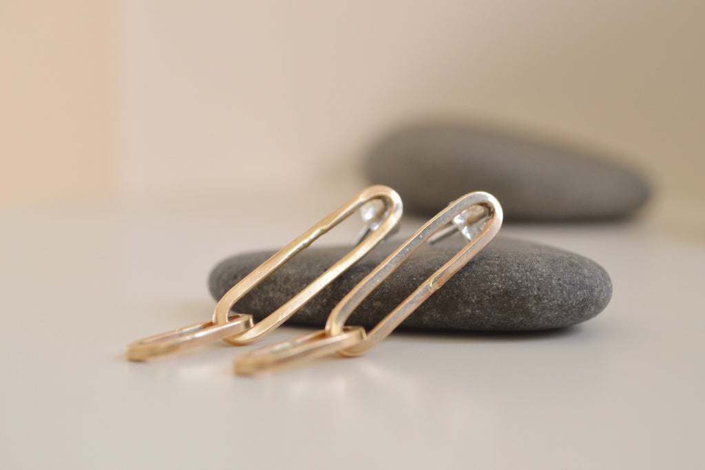 Link earrings, 14k gold filled, close-up