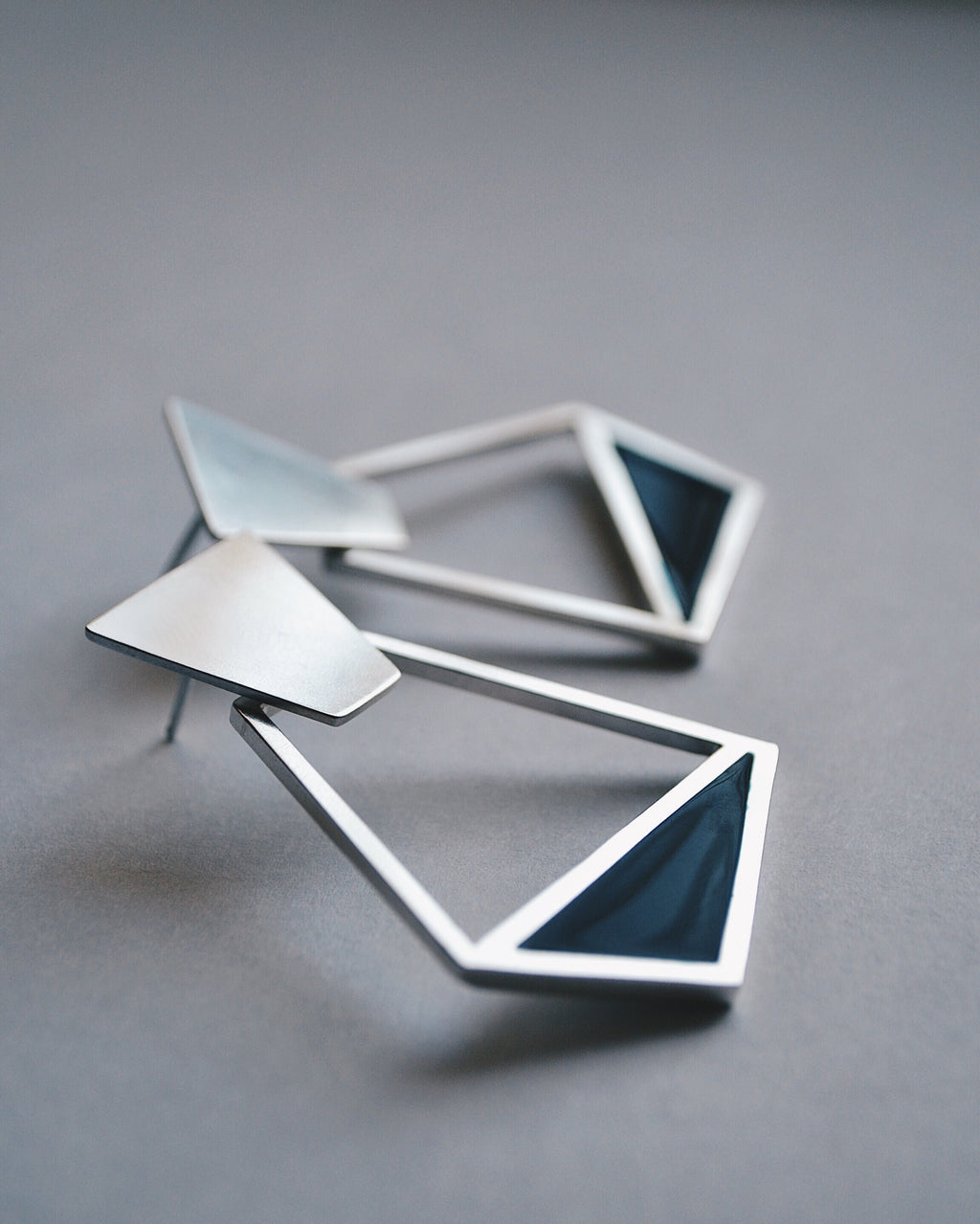 Asymmetrical Navy Earrings