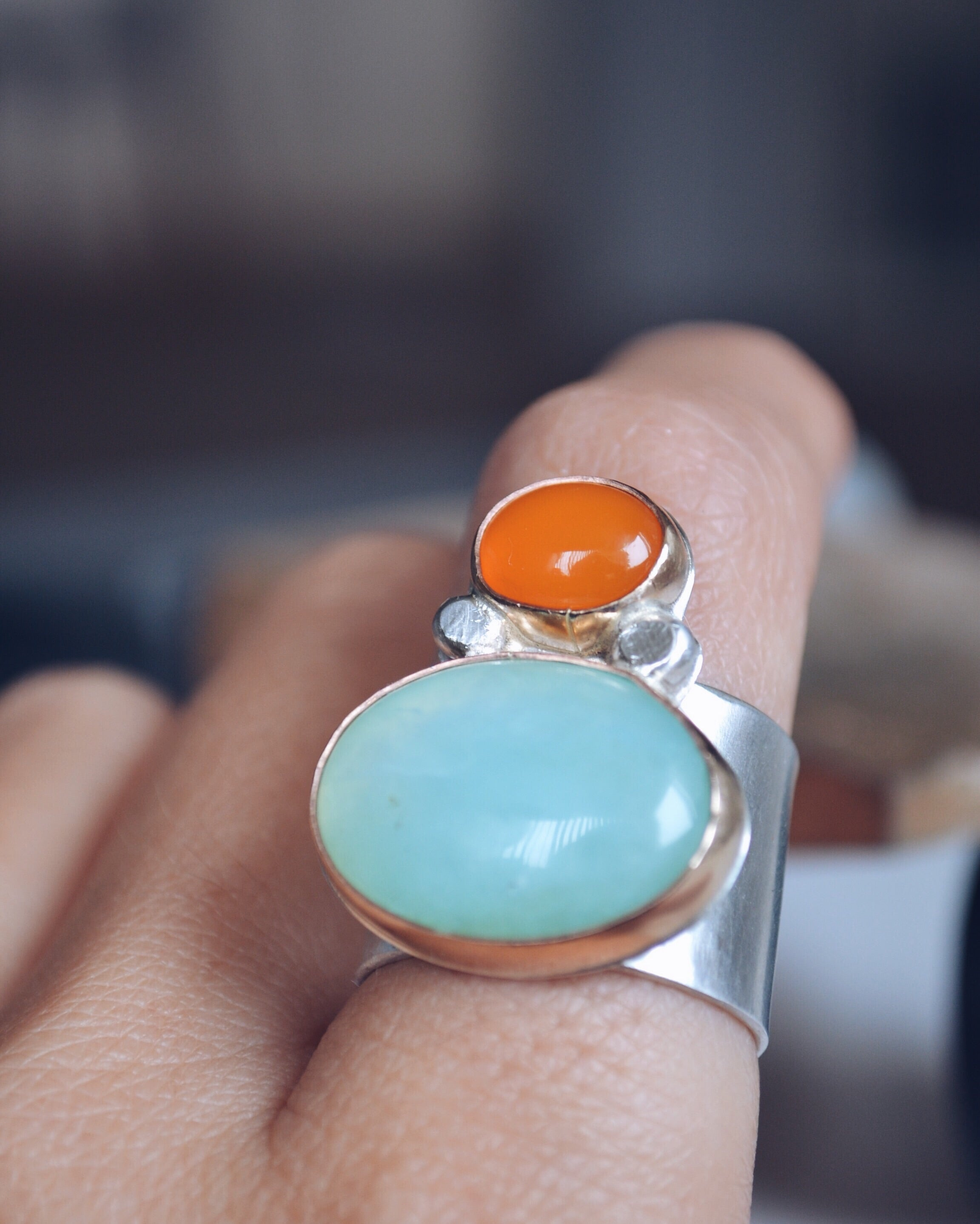 Orange Chalcedony & Amazonite Ring