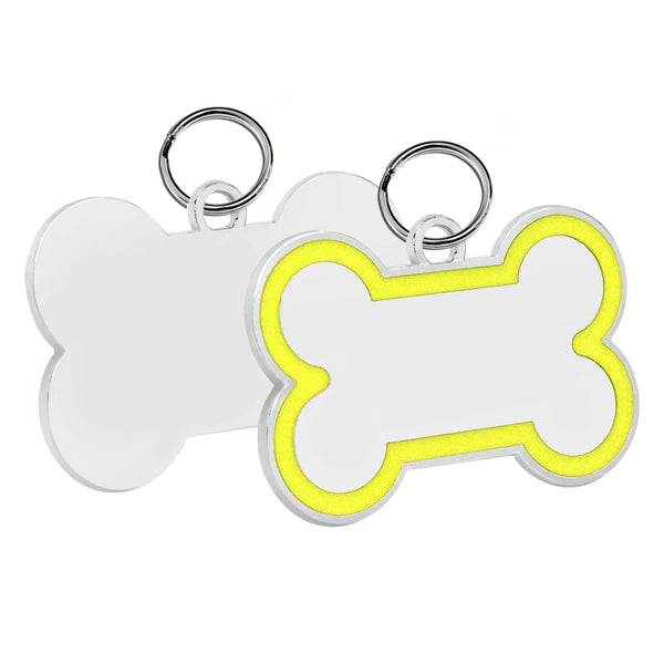 Bone Pet ID Tag (Yellow Enamel)