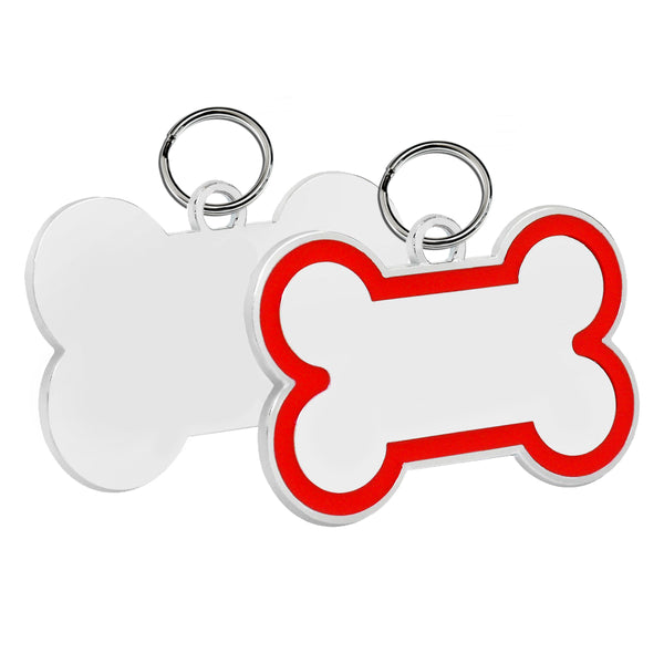Bone Pet ID Tag (Red Enamel)