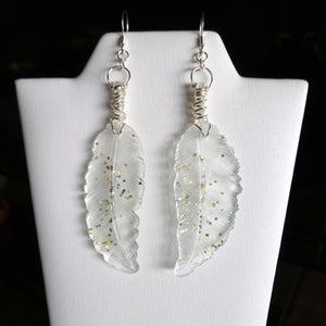 Light Weight Resin Feather Earrings Hand Wire Wrapped - Clear with Glitter