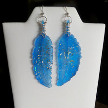 Light Weight Resin Feather Earrings Hand Wire Wrapped - Blue with Glitter