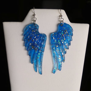 Light Weight Resin Angel Wing Earrings - Blue with Glitter