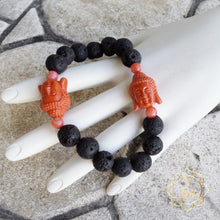 Lava Stone Bracelet - Double Red Buddha Natural Essential Oil Diffuser