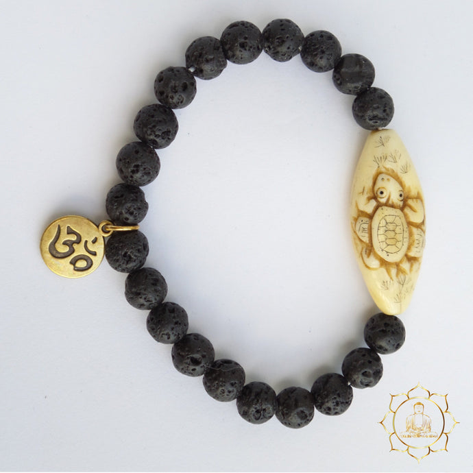Lava Stone Bracelet - Long Life Turtle Natural Essential Oil Diffuser