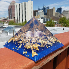 Namaste Golden Orgonite Pyramid Amethyst Ocean with Gold Flakes