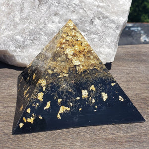 Namaste Golden Orgonite Pyramid Ascension with Clear Quartz, Selenite, Amethyst, Black Tourmaline, Gold Flake, and Black Iron Oxide