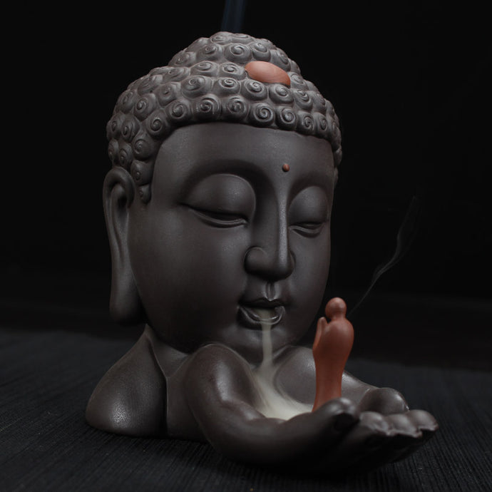 Backflow Incense Burner Creative Home Decor Ceramic Buddha Incense Holder Buddhist Censer Bonus: 10 Pcs Incense Cones