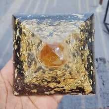 Namaste Golden Orgonite Pyramid Citrine Rain with Gold Flake, Black Iron Oxide, and a 14K Gold Wrapped Selenite Tip