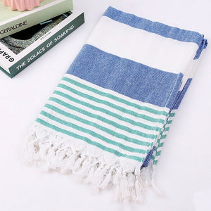 Turkish Towels 100% Cotton Stripes Thin Bath Towel Yoga Beach Travel Camping Shawl Sunscreen Tassel Tapestry