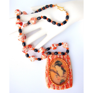 Beautiful Handmade Asian Style Necklace, Bracelet and Earring Set with Carnelian, Black Coral & Porcelain Dragon Beads