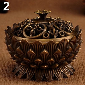 Lotus Shape Zinc-copper Alloy Incense Burner Brass Mini Sandalwood Censer Creative Home Office Decor Incense Holder