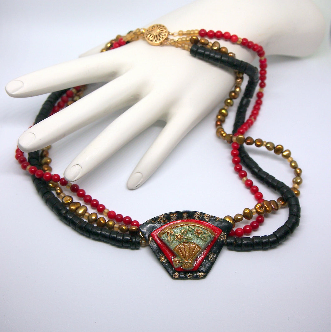 Stunning Handmade Asian Style Necklace, Bracelet and Earring Set with Pearls, Black Coral & Red Coral