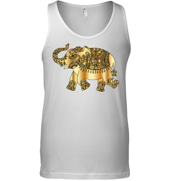 Elephant Gold Soft 100% Cotton Sleeveless Men Women Unisex Tank Top