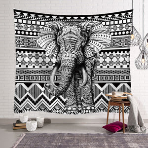 B&W Elephant Tribal Print Wall Hangings Bohemian Home Decor Tapestry Indian Sheet Bedding Sofa Cover, - Perfect for Camping / Music Festivals