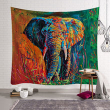 Rainbow Elephant Painting Print Wall Hangings Bohemian Home Decor Tapestry Indian Sheet Bedding Sofa Cover - Perfect for Camping / Music Festivals