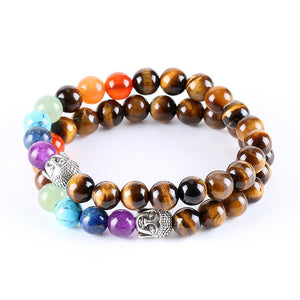 Chakra 7 Healing Beads Natural Tiger Eye Buddha Bracelet