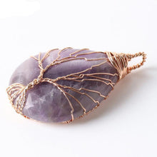Rose Gold Handmade Wire Wrapped Tear Drop Shaped Natural Stone Crystal Pendant Necklace