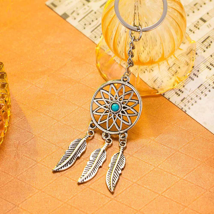 Delicate Silver Dream Catcher with Feather Tassels Key Chain