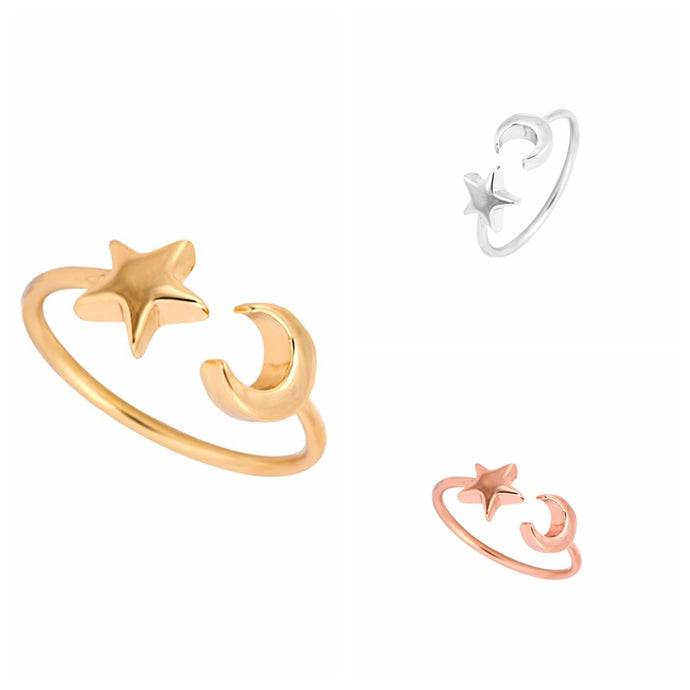 Cute Ring Adjustable Crescent Moon and Tiny Star - Womens Jewelry
