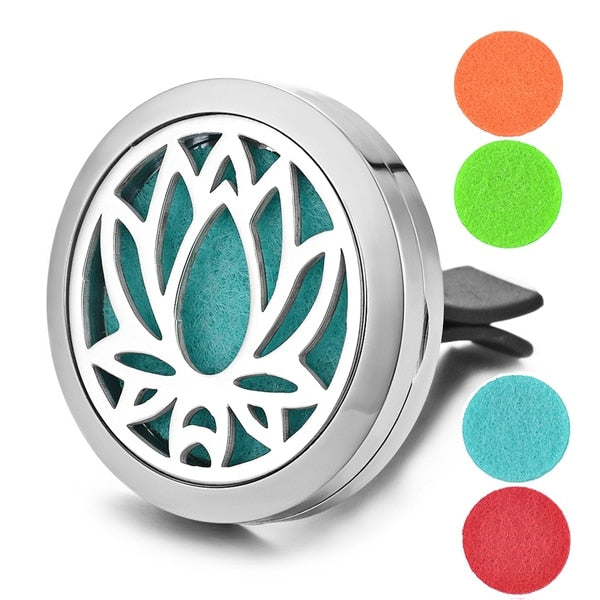 Aromatherapy Essential Oil Locket Vent Clip Car Diffuser - Lotus Design Magnetic Stainless Steel Diffuser - Includes 5 Free Oil Pads Gift