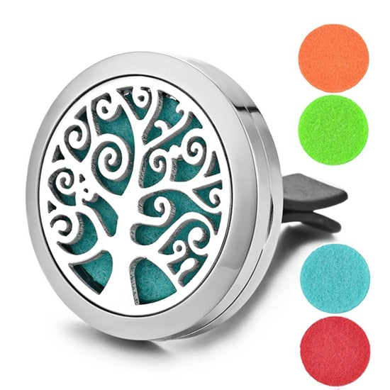 Aromatherapy Essential Oil Locket Vent Clip Car Diffuser - Tree of Life Design Magnetic Stainless Steel Diffuser - Includes 5 Free Oil Pads Gift