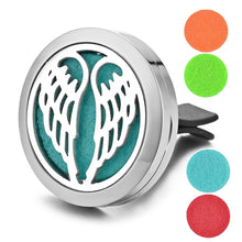 Aromatherapy Essential Oil Locket Vent Clip Car Diffuser - Angel Wings Design Magnetic Stainless Steel Diffuser - Includes 5 Free Oil Pads Gift