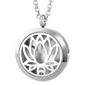 Aromatherapy Essential Oil Locket Pendant Necklace - Lotus Design Magnetic Stainless Steel Diffuser Jewelry - Includes 5 Free Oil Pads Gift